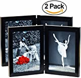 magazine article frame - (2-Pack) 5x7 Inch Hinged Dual Picture Wood Photo Frames with Glass Front - Displays Two 5