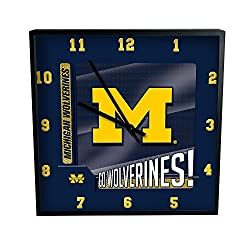 NCAA The University of Michigan Go Team! 12 Square Clock, One Size, Multicolor