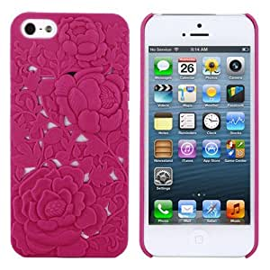 Skque 3D Rose Carving Snap-on Hard Case for Apple iPhone 5, Pink
