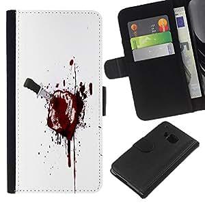 KLONGSHOP // Tirón de la caja Cartera de cuero con ranuras para tarjetas - Bloody Brindis - HTC One M9 //