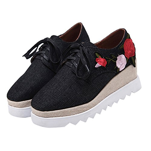 Canvas Denim Platform up Lace Shoes Time Women's Creepers Embroidery Black Dear Oxford Zq8Sa