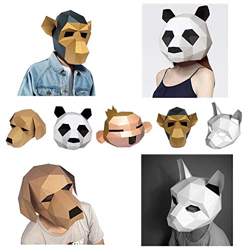 3D Animal Mask,Funny Puzzle Paper Craft Kit,Cute Cartoon Masks,Halloween Head Mask DIY for Adults & Kids,for Christmas Easter Costume Cosplay Costume Party - NO Scissors Needed (Panda) -