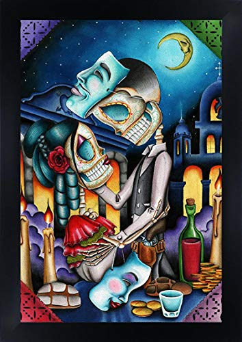 (Masquerade by Dave Sanchez Skeleton Sugar Skull Framed Tattoo Paper Art Print)