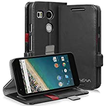 Vena [vFolio] Google Nexus 5X Case - Vintage Genuine Flip Leather Wallet Stand Cover with [Card Pockets] for Google Nexus 5X (Black/Red)