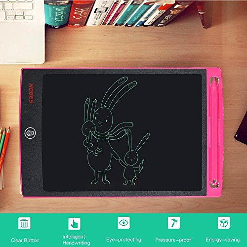 Nobes Newest LCD Writing Tablet 8.5 inch (Upgrade Brightness), Electronic Writing Doodle Pad Digital Drawing Board eWriter, As Office Whiteboard Bulletin Board Memo Notice and Gifts for Kids (Pink) by NOBES (Image #5)