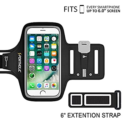 Up to 6.0 /6.5 inch Screen Armabnd Sports Armband ,PORTHOLIC -LIFE WARRANTY-For iPhone 6/6s/7 Plus,Galxy S7/8,LG G5,Note 3/4/5 with Key&Cards Holder,Cable Locker(BLACK)
