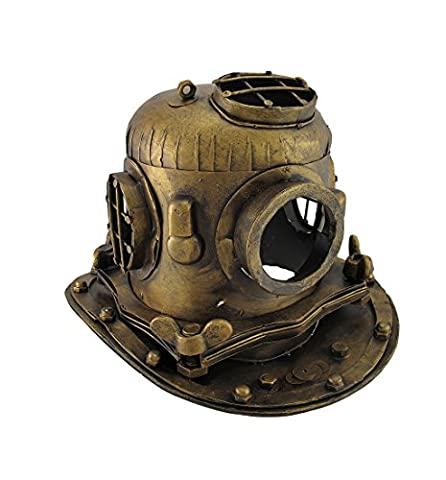 Antiqued Finish Decorative Metal Deep Sea Diving Helmet Sculpture
