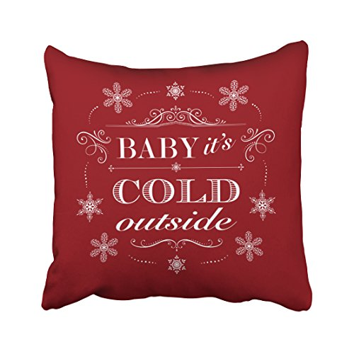 Emvency Pillowcases Xmas Happy New Year Christmas Or Apres Ski Red And White Snowflakes Decorative Cushion Cover Case Throw Pillow Cover Case Protectors Square 20x20 Inches One Side Sofa Couch New Apres Ski