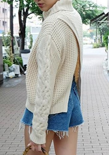 Uni Manteau Col Tricot Casual Sweater Loose Pulls Beige Avec Haute
