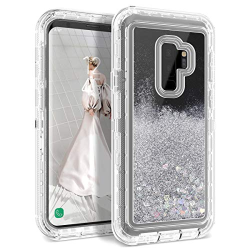 Galaxy S9 Plus Case, Dexnor Glitter 3D Bling Sparkle Flowing Liquid Quicksand Case Transparent 3 in 1 Shockproof TPU Silicone + PC Protective Defender Cover for Samsung Galaxy S9 Plus - Silver