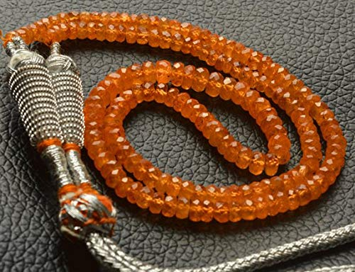 KALISA GEMS Beads Gemstone 1 Strand Natural 15 inch Orange Garnet Natural Gemstone Spessartine Faceted Rondelle Beads Necklace Very Rare Orange Garnet 3.5 to 4.5 MM
