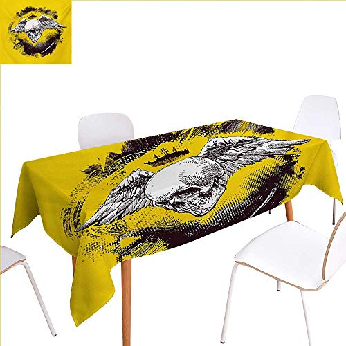 familytaste Tattoo Printed Tablecloth The Death Angel Crowned Skull Drawing with Wide Magnificent Feather Wings Rectangle Tablecloth 60