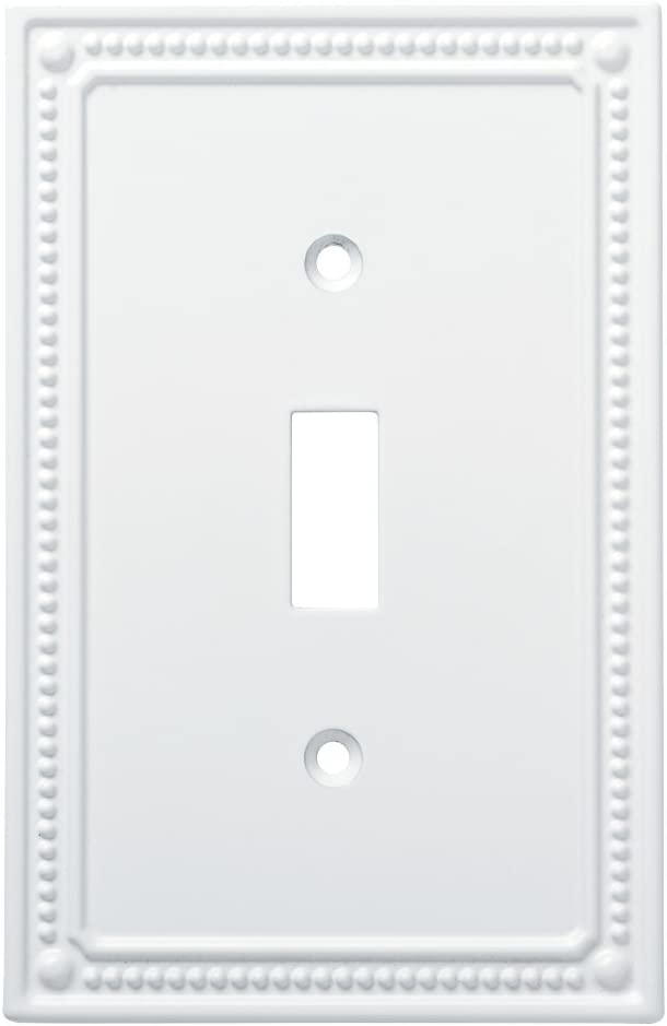 Franklin Brass W35058-PW-C Classic Beaded Single Switch Wall Plate/Switch Plate/Cover, White