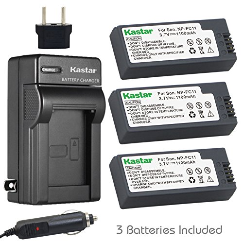 (Kastar Battery 3x + Charger for Sony NP-FC11 NP-FC10 Cyber-shot DSC-P12 DSC-P10 DSC-P8 DSC-V1 DSC-P7 DSC-P5 DSC-P9 DSC-P3 DSC-F77 DSC-P10S DSC-FX77 DSC-P2 DSC-P10L DSC-P8L DSC-F77A DSC-P8S P8R)