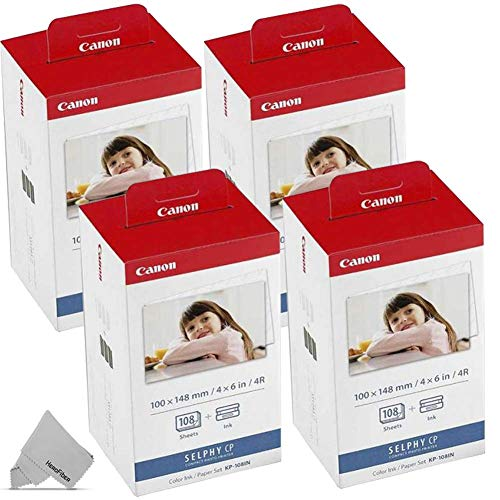 4 Pack Canon KP-108IN / KP108 Color Ink Paper includes 432 Ink Paper sheets + 12 Ink toners for Canon Selph CP1300, CP1200, CP910, CP900, cp770, cp760 Compact Photo Printers