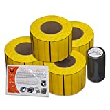Pinnale Checkmate Yellow 4''x3'' 3600 Uncoated Polysteel Thermal Transfer Part Label Tags w/ Premium Wax-Resin Ribbon & Printer Cleaning Card