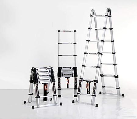 Escalera de extensión plegable portátil,Escalera telescópica, escalera plegable doméstica, escalera de ingeniería de aluminio multifunción -4.5m + 4.5m,Escalera telescópica de aluminio multiusos: Amazon.es: Hogar