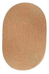 Indoor/Outdoor Solid Beige Area Rug, Braided Textured Design, 4Ft. X 4Ft. Round Reversible Carpet