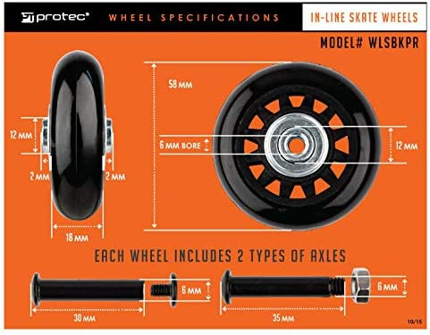 WLSBKPR Protec Replacement Inline Skate Wheels Pair