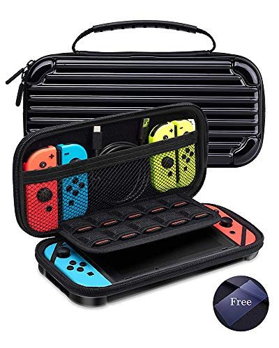KeeGan Hard Carrying Case for Nintendo Switch and Glass Screen Protector - Protective Travel Case Portable Bag Shockproof Shell Pouch with 10 Game Card Storage (Black)