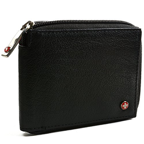 7776f777095 Alpine Swiss Men s Leather Zip Around Wallet ID Card Window Secure Zipper  Bifold