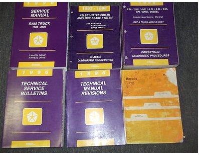 1996 Dodge Ram Truck 1500 2500 3500 Service Shop Repair Manual Set FACTORY OEM (service manual,recalls manual,technical manual revisions,technical service bulletins manual, and the power train/chassis diagnostics procedures manuals)