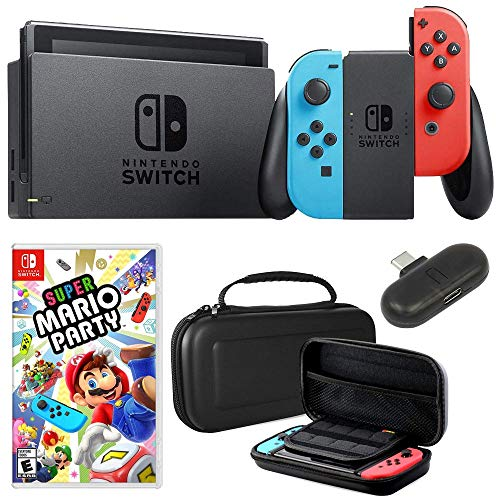 Nintendo Switch 32 GB Console with Neon Blue & Red Joy-Con + Deco Gear Mario Party Bundle