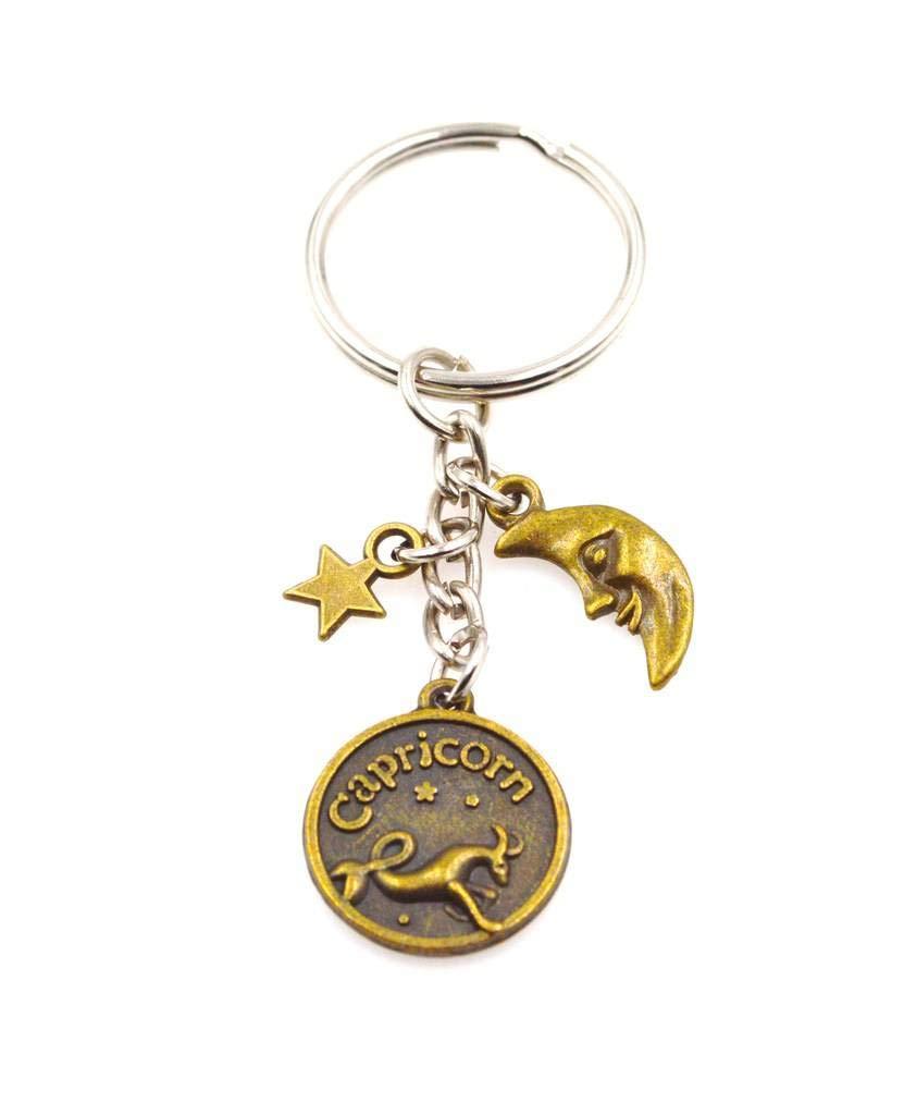 Amazon.com : Zodiac Sign Moon & Star Keychain Key Chain(Leo ...