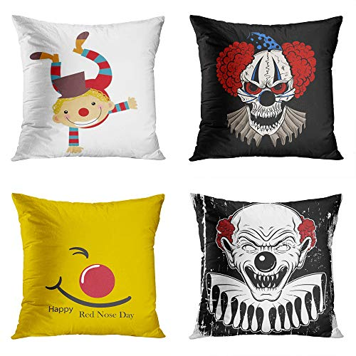 Moladika Set of 4 Throw Pillow Covers 18x18 Inch Square Kid Clown Costume Illustartion Cartoon Evil Hubcap Flat Red Nose Day Concept Angry Cushion Home Decor Sofa Bedroom ()