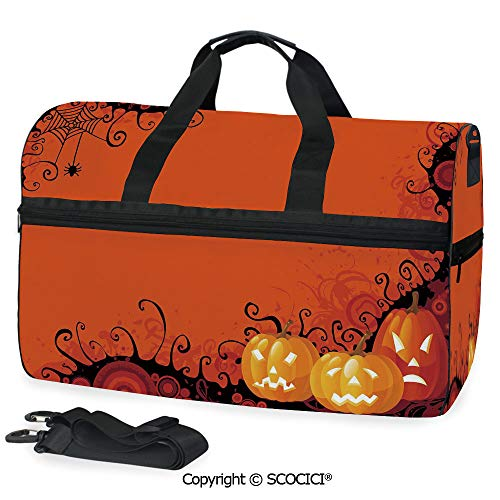 Travel Duffel Bag Three Halloween Pumpkins Abstract Black Personalized choice ()