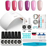 GirlyDream Gel Nail Polish Set Top Base Coat 6 Color Nail Polish SUN9C Plus 36W Fast Curing LED Nail Lamp Complete Manicure Tools New Starter Nail Art Tool Kit #016