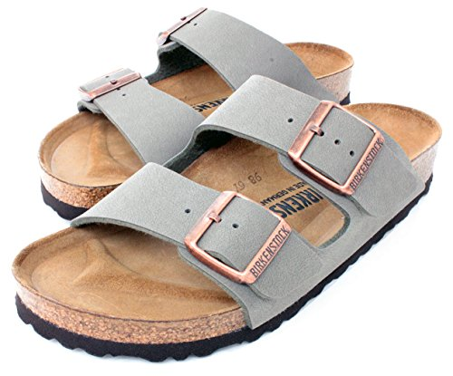 Arizona Women's Cork Footbed Sandals in Stone Birko-Flor by Birkenstock (38 M EU - 7-7.5 US Women) - Birkenstock Arizona Birko Flor Sandal