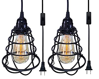 INNOCCY Industrial Plug in Pendant Light E26 E27 Vintage Hanging Cage Pendant Light Edison Pendant Light Fixture with On/Off Switch 2 Pack