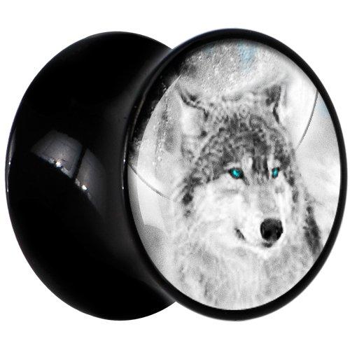 Black Acrylic Blue Eyed Wolf Saddle Plug Pair 18mm Wolf Saddle Plug