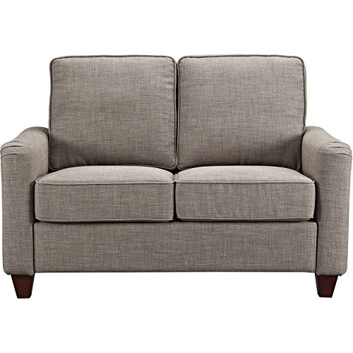 Deep Seating Settee - Living Room Lobby Studio Sofa Practical Classic Modern Loveseat Silhouette Comfortable Couch Deep Plush Seating Settee Complementing Nailhead Trim Durable Sturdy Construction Grey Linen-Look Fabric