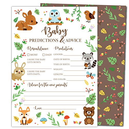 Gooji Baby Shower Prediction and Advice Card Games (50-Pack) Woodland Animal Themed Play Charts | High-Quality Cardstock, Rich Colors and Graphics | Fun, Colorful, Gender Neural Keepsakes | Boys and Girls ()