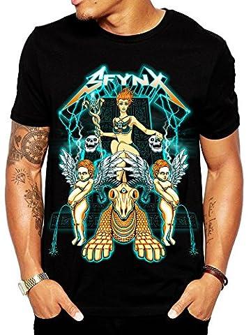 SFYNX 'Babylon' Men's Rave T Shirt - Glow in the Dark EDM Clothing - Black Light Reactive Tee - Back Music Light T-shirt