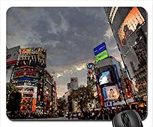 human rush hour in a japanese city hdr Mouse Pad, Mousepad (10.2 x 8.3 x 0.12 inches)