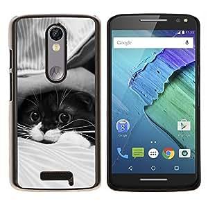 EJOOY---Cubierta de la caja de protección para la piel dura ** Motorola Moto X3 3rd Generation ** --Lindo gato