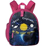 Best Engineer In The Solar System Galaxy Funny Toddler Kids Backpack Preschool Backpack Pink Mini Backpack