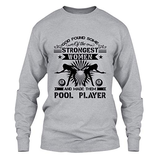 Elido Store Pool Tshirt Design - God Made Female Pool Players T Shirts Long Sleeve (XXL,Grey)