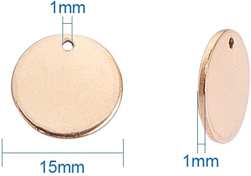 Outtybrave 20 pcs Pendentif Rond Pendentif Simple Lisse en Acier Inoxydable /à la lumi/ère Disque perfor/é diam/ètre20 mm