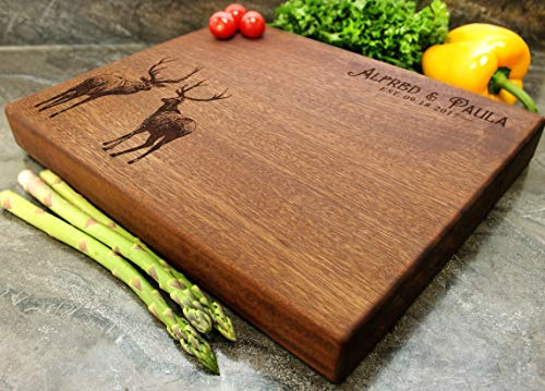 Personalized Engraved Custom Chopping Block - Deer or Elk out in the natural Wilderness Design - Juice Groove + Stainless Steel Metal Display Stand Available - #40