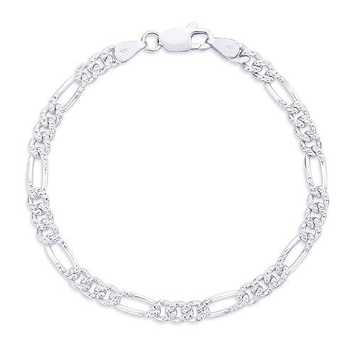 1a8ce5edaa9 Taraash Double Side Figaro 925 Sterling Silver Bracelet for Men  AP11FGH1508HIN: Amazon.in: Jewellery