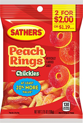 (Sathers Rings Gummy Candy, Peach, 3.75 Ounce (Pack of 12))