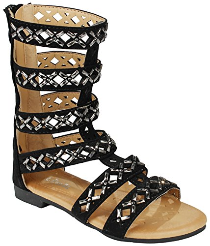 Picture of JJF Shoes Girls Kids Rhinestone Cut Out Strappy Gladiator Roman Comfort Mid Calf Flat Sandals