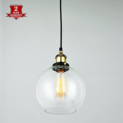 LAVALUX Glass Globe Shade Pendant Light Modern Hanging Ceiling - Hanging light fixtures for kitchen island