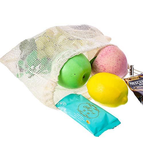 5 Pack Bolsa de Productos Reutilizable con Cierre de Cordón, Bolsa de Malla de Compra, Tara de Peso en Etiqueta, Bolsa de Algodón Natural (8 x 11 pulgadas): ...
