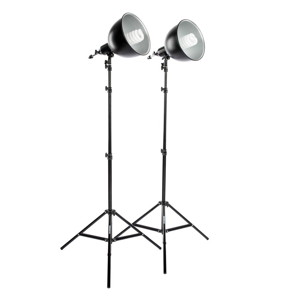 Fovitec StudioPRO 850W Fluorescent Bulb Reflector Socket Photo Lighting Kit, Black (SPK10-071)