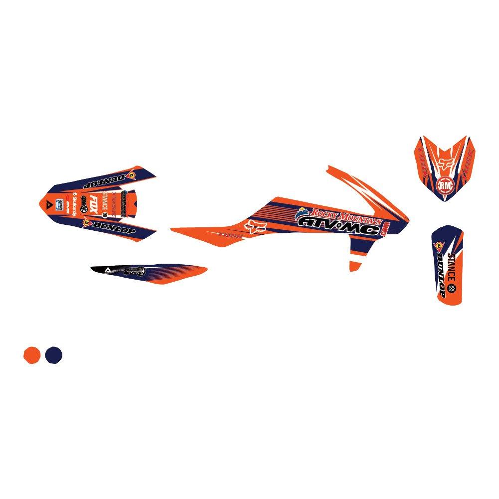 Attack Graphics カスタムブリッツフルトリムキット オレンジ/ネイビー KTM 50 SX Pro Junior LC 2002-2007   B07BYGDGZF